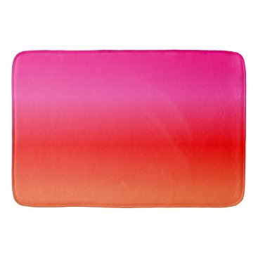 Beach Themed Pink,  Red and Orange Gradient Bathroom Mat
