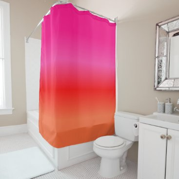 Beach Themed Pink,  Red and Orange Gradient Shower Curtain
