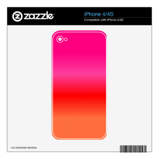 Pink, Red and Orange Gradient Skin For The iPhone 4