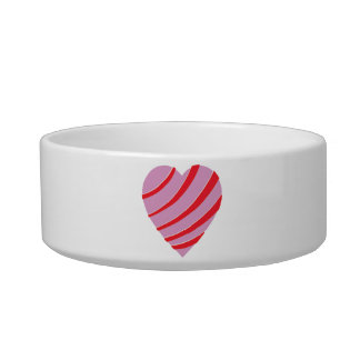 Pink, Red and White Striped Heart Bowl