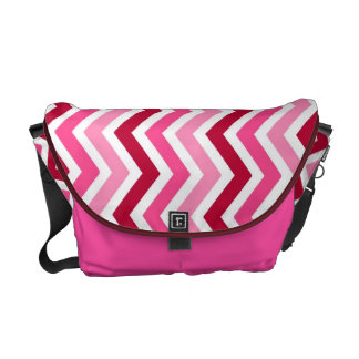 Pink,Red and White Zigzags Messenger Bag