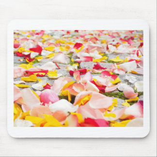 Pink Red and Yellow Rose Petals Mouse Pad