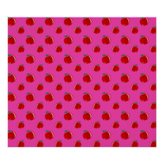 Pink red apple pattern poster