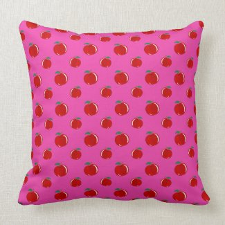 Pink red apple pattern throw pillow