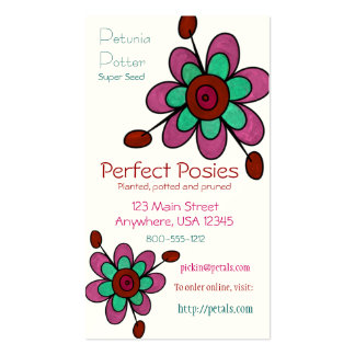 Pink, Red & Aqua Fun Flowers Double-Sided Standard Business Cards (Pack Of 100)