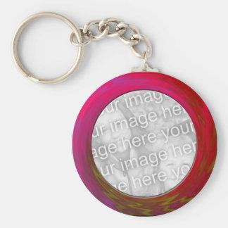 pink red basic round button keychain