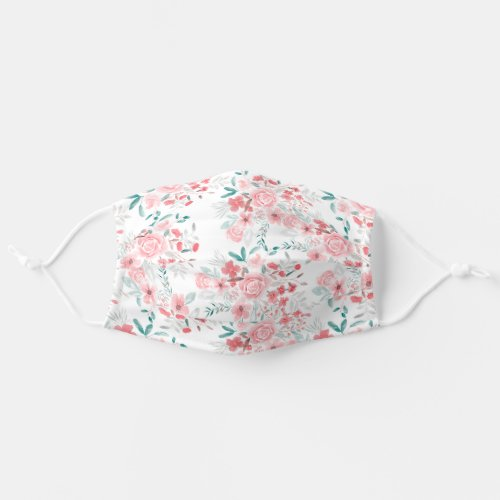 Pink red blue floral romantic pattern watercolor cloth face mask