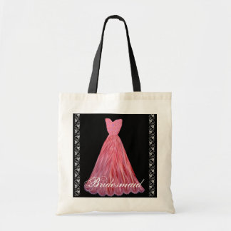 PINK & RED  Bridesmaid Dress Cotton Tote Bag