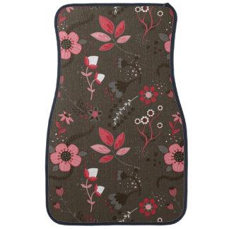 Pink Red Brown Floral Pattern Car Floor Mat
