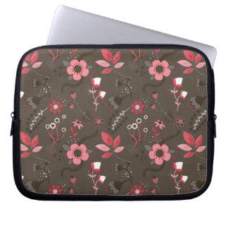 Pink Red Brown Floral Pattern Laptop Sleeve