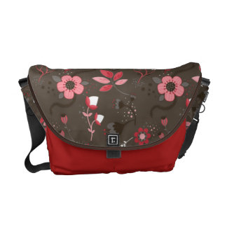 Pink Red Brown Floral Pattern Messenger Bags
