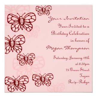 Pink & Red Butterfly Birthday Invitation