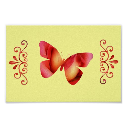 Pink & Red Butterfly Posters
