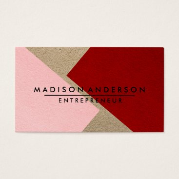 Professional Business Pink Red & Cream Modern Finance Consultant Business Card