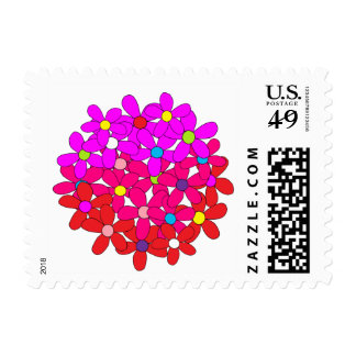 Pink & Red Daisy Ball Postage
