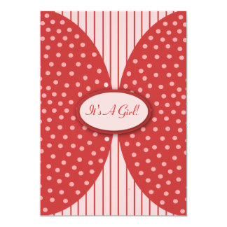 Pink & Red Dots Stripes Baby Shower Invitations