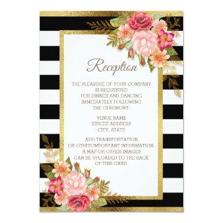 Pink Red Floral Black White Stripes Gold Reception Invitation