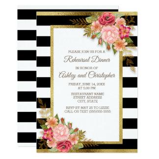 Pink Red Floral Black White Stripes Gold Wedding Invitation