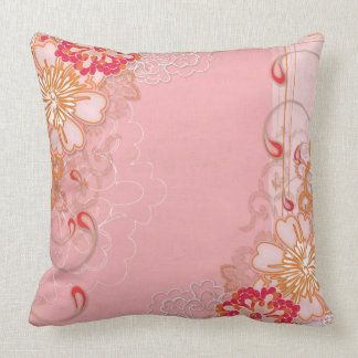 Pink Red Floral Pattern Throw Pillow