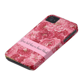 Pink Red Floral Print Customizable iPhone 4  Case iPhone 4 Cases