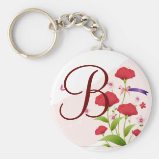 Pink Red Floral Save the Date magnet, available ro Keychain