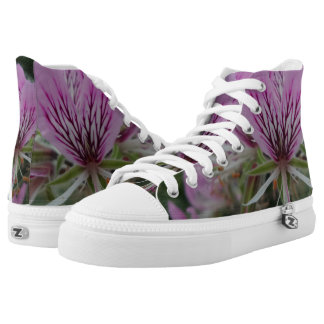 Pink/Red Flower Zipz High Top Shoes,White