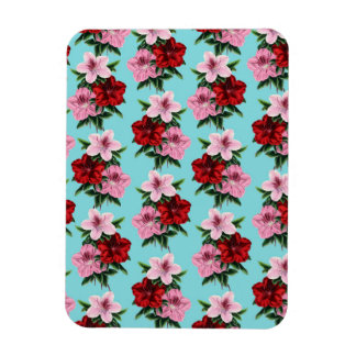 pink red flowers on teal light magnet