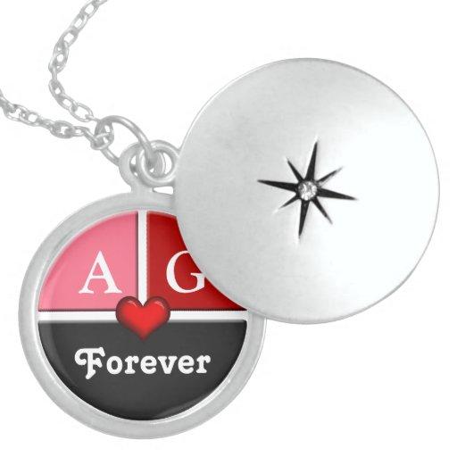Pink & Red Forever Love Genuine Silver Locket