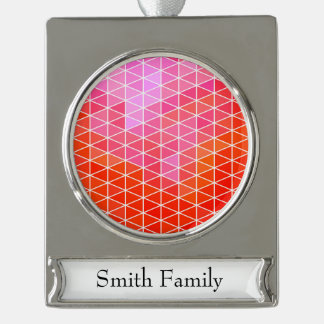 Pink & Red Geometric Triangle Pattern Silver Plated Banner Ornament