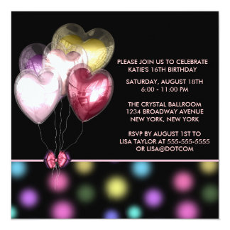 Pink Red Gold Heart Balloons Sweet 16 Party Card