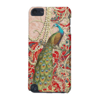 Pink Red Gold Peacock Swirl iTouch iPod Touch 5G Cover