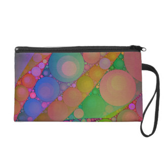Pink Red Green Abstract Wristlet Purse
