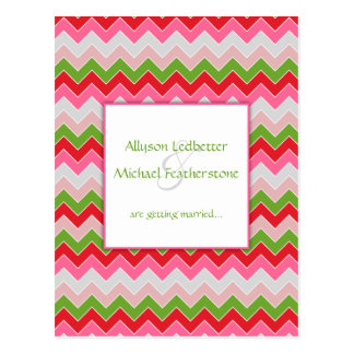 Pink Red Green Gray Chevron Stripe Save The Date Postcard