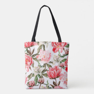 Pink red green white watercolor peony flowers tote bag