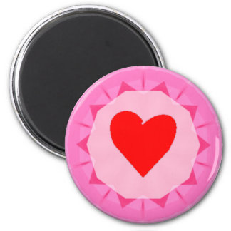 pink red heart 2 inch round magnet