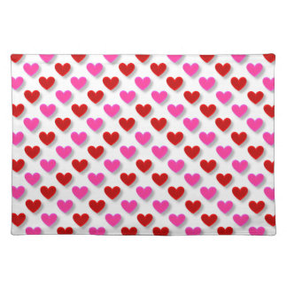 Pink Red Heart Pattern - Customize Background Cloth Placemat