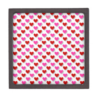 Pink Red Heart Pattern - Customize Background Gift Box