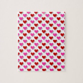 Pink Red Heart Pattern - Customize Background Jigsaw Puzzle