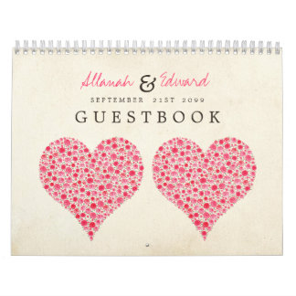 Pink Red Heart Roses Wedding Guest Sign Book Calendar