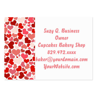 Pink Red Hearts Pattern Valentine's Day Love Pack Of Chubby Business Cards