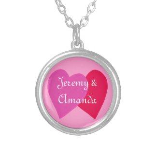 Pink, Red Hearts Personalized Sweetheart Necklace