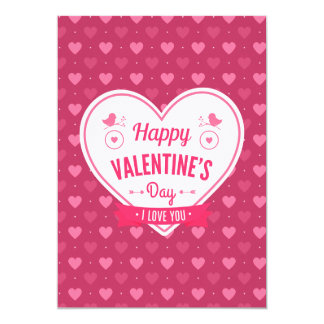Pink & Red Hearts Valentine's Day Card