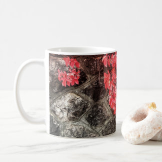 Pink red ivy leaves autumn stone wall coffee mug