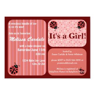 "Pink Red Ladybug Baby Shower Invitations Girl 4.5"" X 6.25"" Invitation Card"