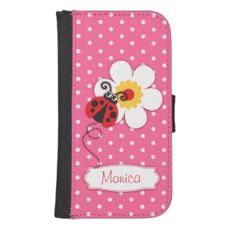 Pink red ladybug polka flower girls flap case