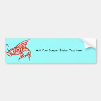Pink Red Lips Fish Bumper Sticker