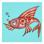 Pink Red Lips Fish Print