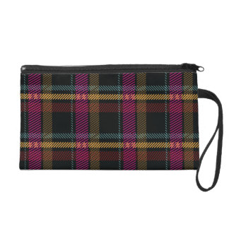 Pink Red Mustard Blue and Black Modern Plaid Wristlet Purse