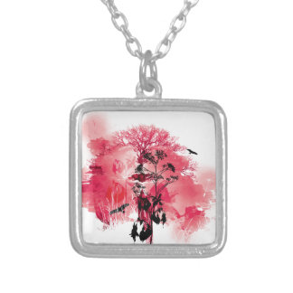 Pink & Red Nature Bird Tree Design Square Pendant Necklace
