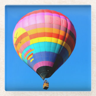Pink, Red, Orange and Blue Hot Air Balloon Glass Coaster